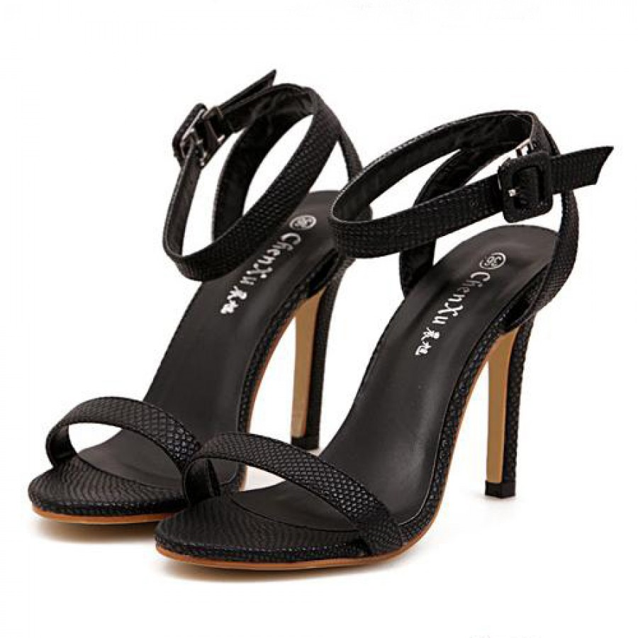 Black Snakeskin Effect Strappy High Heel Sandals