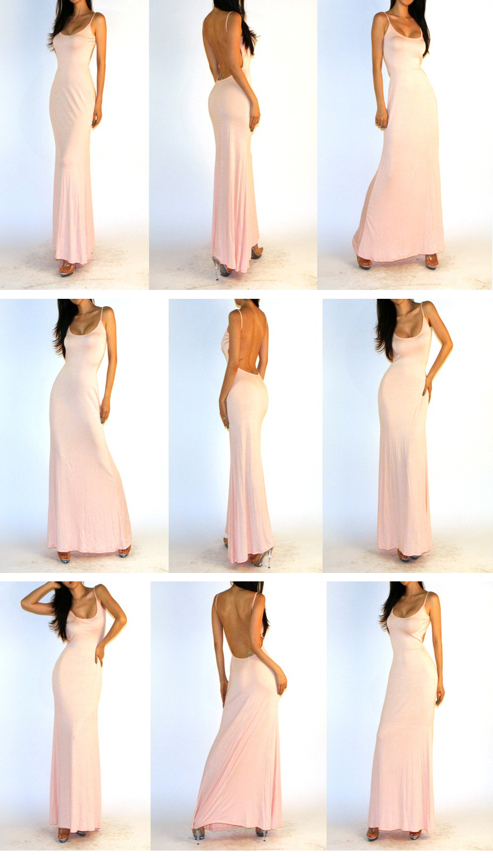 Sexy Light Pink Minimalist Open Back Backless Rayon Jersey Long Maxi Dress SML | eBay