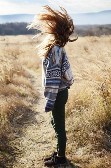 boho cardigan hipster sweater jeans shoes