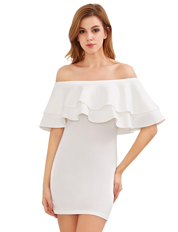 f011564f99c6 MakeMeChic Women s Off Shoulder Ruffle Mini Dress Boho Bodycon ...