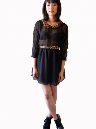 Alexa leopard collar dress  «  milk