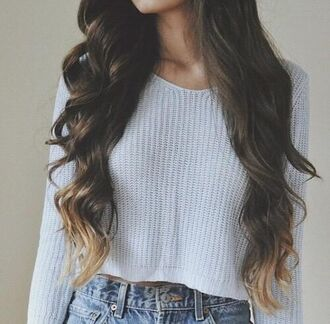 grey sweater jeans ombre ombre hair blue grey cropped