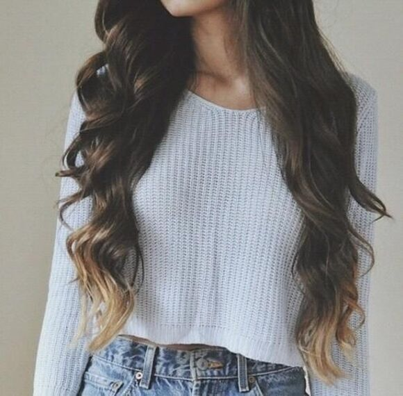 ombre ombre hair grey sweater jeans blue grey cropped