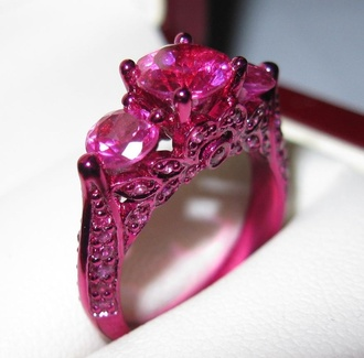 jewels ring pink girl punk princess rock princess jewerly brillant female