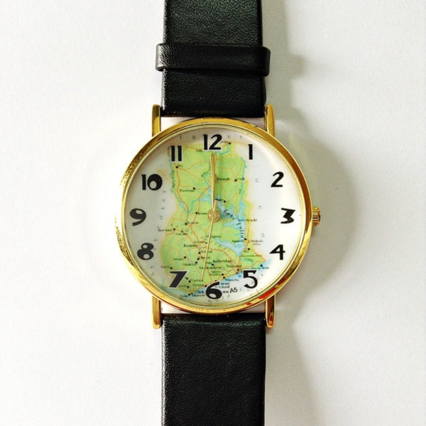 jewels map watch watch watch vintage style black watch leather watch fashion blogger blogger style