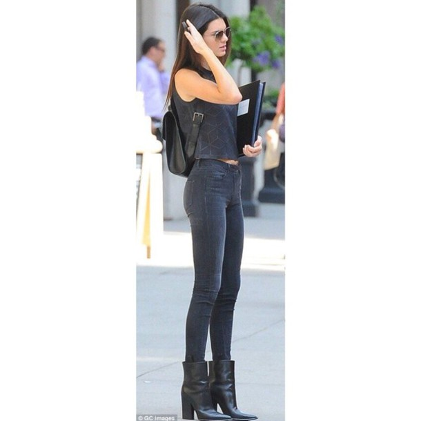 Jeans Kendall Jenner Outfit Black Tumblr Wheretoget