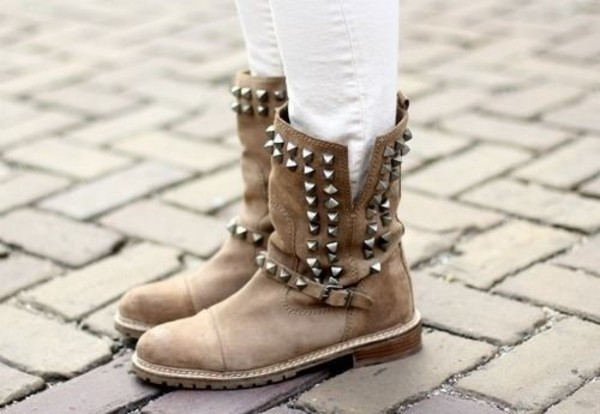 shoes brown shoes nieten boots biker boots spike boots with spikes leather boots