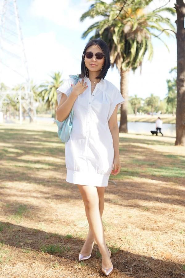 cecylia dress sunglasses jewels scarf shoes