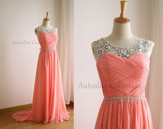 Pink Chiffon Simple Wedding Dress/Bridesmaid by autoalive