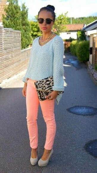 pants sweater sunglasses bag leopard fashion outfit neon skinny jeans mint spring fashion clutch