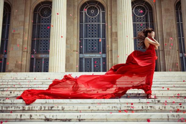 long silk dress red dress red long dress flowy dress