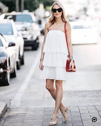 dress tumblr mini dress white dress bag red bag sandals sandal heels high heel sandals sunglasses shoes