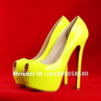 bright yellow lady peep toe super high heel party shoes-in Pumps from Shoes on Aliexpress.com