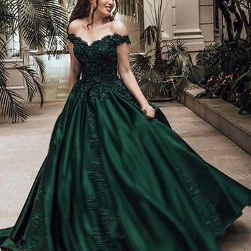 Dark Green Off Shoulder Lace Prom Gown, from jbydress | Prom