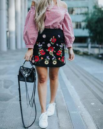 skirt embroidered skirt mini skirt off the shoulder gingham gingham top white sneakers blogger blogger style embroidered crossbody bag