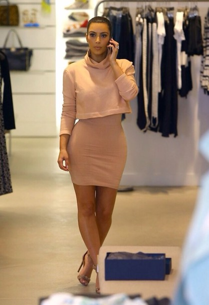 dress cute dress nude cropped sweater nude skirt bodycon skirt mini skirt sweater kim kardashian kardashian kollection skirt kim kardashian black barbie pencil skirt pink dress trendy spring outfits crop tee summer cropped sweater kim kardashian style fashion nude high heels nude sandals strappy heels light pink dress knee length dress high waist skirts blackbarbie top