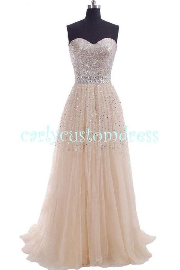 dress champaign beaded sweetheart sleeveless
