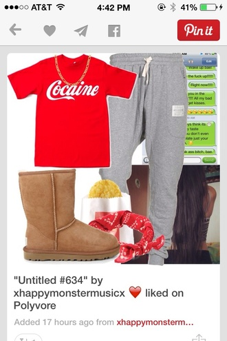 shirt cocaine and cavier coke white all white coke a cola red red skater skirt t-shirt style white t-shirt pants