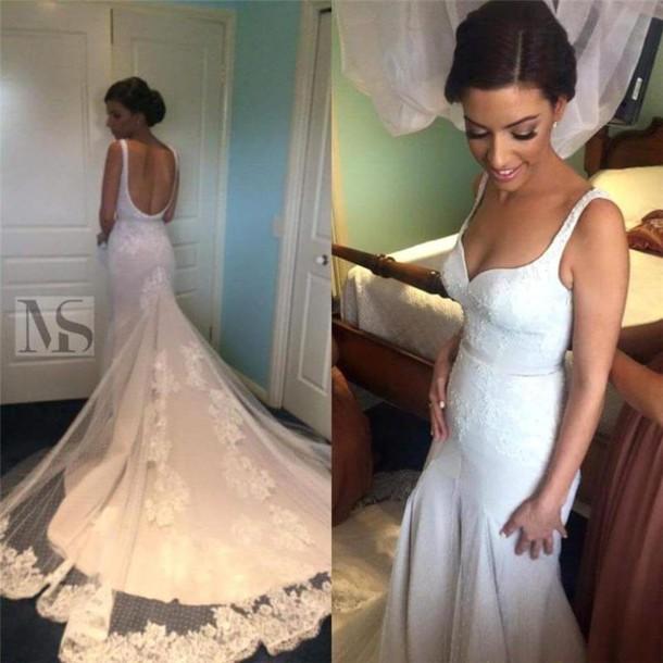Dress Backless Wedding Dress Mermaid Wedding Dress Vintage Lace