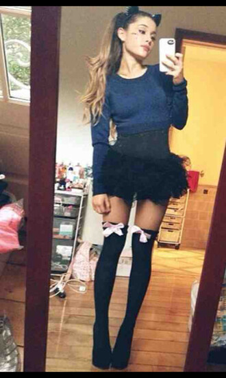 bows fashion high heels style kitty ears selfie mirrored socks knee high socks