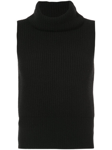 theory top knitted top sleeveless women black