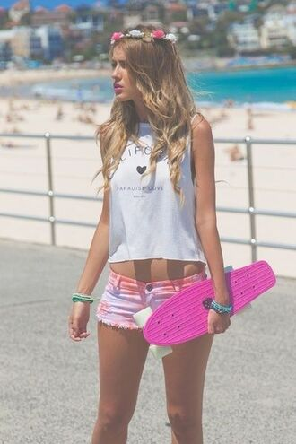 shirt longboard singlet short beach california pink sunglasses summer holidays t-shirt brandymelville calicove paradisecove trendy crop tops croptank designer fashion shorts shorts #dipdye #studs #cute #want tank top tie dye shorts cut off shorts tie dye summer paradise cove tye dye shorts tumblr tumblr outfit summer outfits top rainbow shorts hair accessory penny board skating