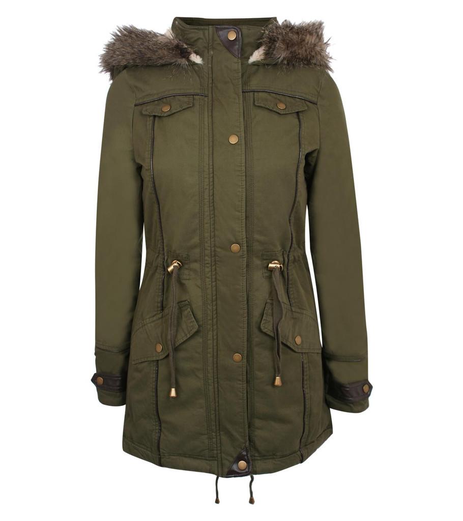 Tammy Twill Parka Coat in Khaki Green | Pilot