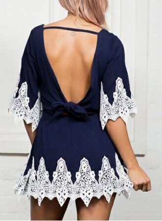 dress lace navy girly summer stylish women's jewel neck lace cut out 1/2 sleeve dress trendy cute fashion style rosegal-dec