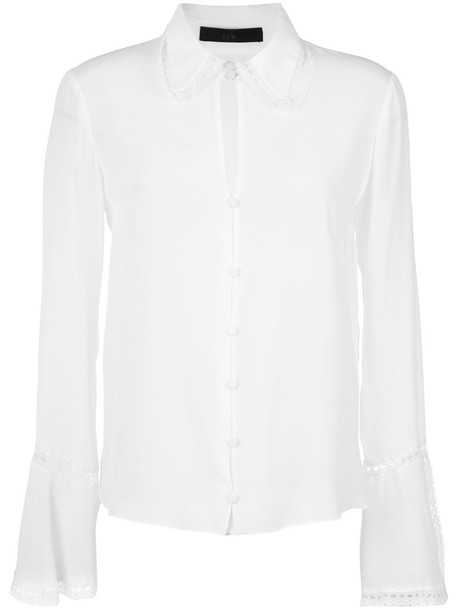 Nk shirt women white silk top
