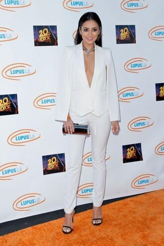 jacket blazer white shay mitchell sandals clutch pants