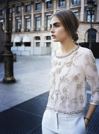 skirt broderie perle beige faitmain lace dress dentelle t-shirt cara delevingne shirt diamonds sparkle watch