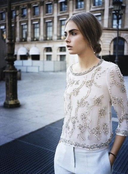 shirt sparkling diamonds t-shirt cara delevingne watch, gold, elegant, amazing, michael, kors skirt broderie perle beige faitmain lace dress dentelle