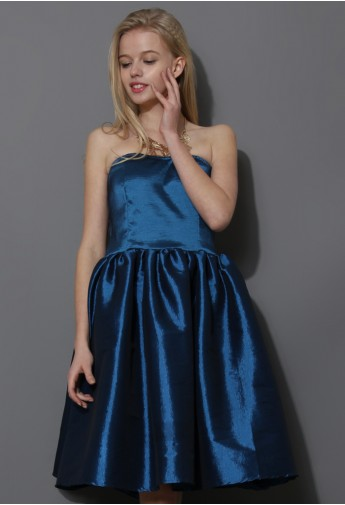 Bustier Strapless Dress in Blue  - Retro, Indie and Unique Fashion