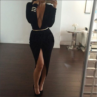 black kim kardashian kim kardashian dress kim kardashian albanian dresses kim kardashian dress fashion stylish kim kardashian short dress kim kardashian style kim kardashian sheer jumpsuitit deep v-neck dress dress belted dress red carpet dress roseo dresses