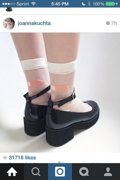 socks kawaii joanna kuchta bandaid see through shoes black heels aesthetic transparent transparent socks