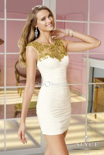 48246a85a361 dress white dress white and gold dress bodycon dress tight short dress  graduation graduation dress open