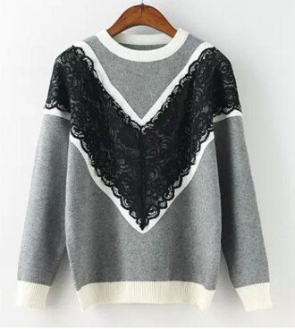 sweater grey lace fashion top fall outfits winter outfits black white style casual long sleeves
