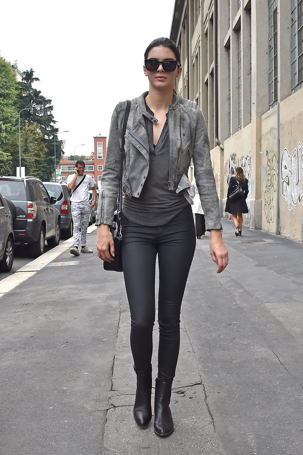 jacket grey streetstyle kardashians leather kendall jenner perfecto skinny pants