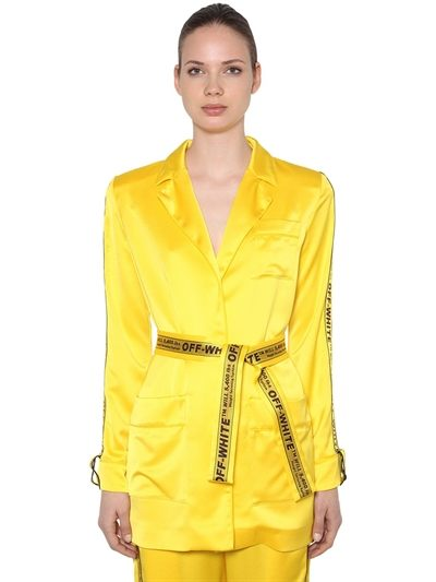 OFF WHITE, Logo bands pajama kimono jacket, Yellow, Luisaviaroma