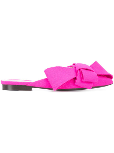 DELPOZO bow women mules leather wool purple pink shoes