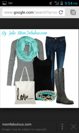 jeans scarf turquoise scarf gray long sleeve jeans black tank top bracelets gray boots