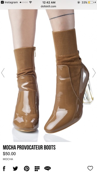shoes boots heels brown clear retro