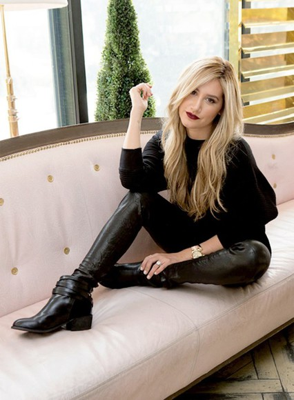 ashley tisdale fall outfits black pants sweater faux leather leather pants