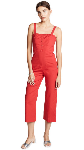 STAUD Sofia Jumpsuit in red