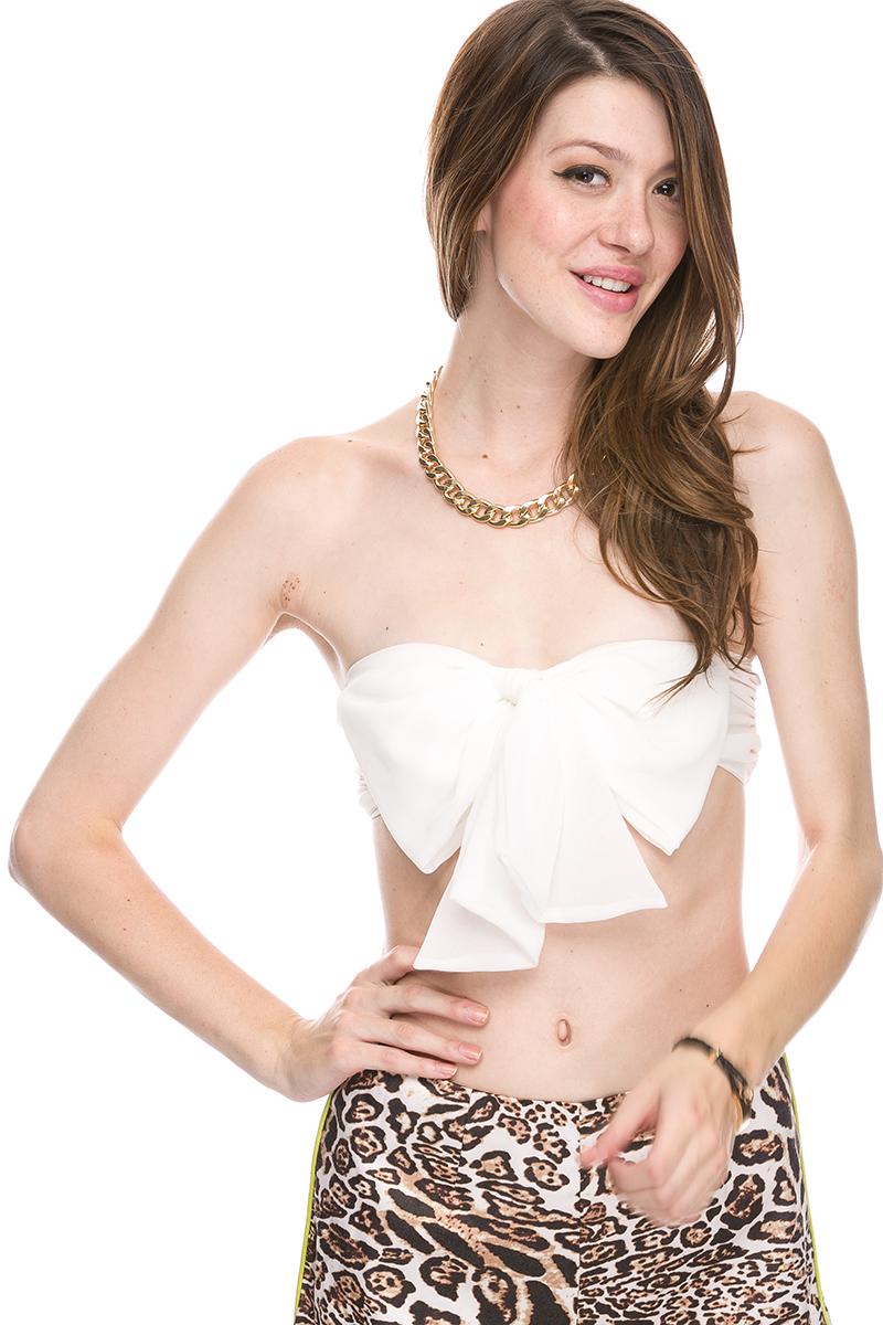 Sexy Chiffon Bow Tie Bandeau Sleeveless Tube Crop Belly Cut Off Half Top s M L   eBay