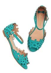 shoes,prancing through petals,teal,cut-out,sandles,flat,faux leather,mod cloth