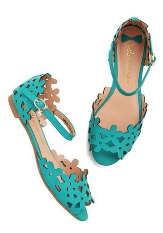 shoes prancing through petals teal cut-out sandles flat faux leather mod cloth