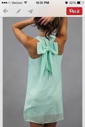 dress,clothes,pinterest,mint,shift,bows,Bow Back Dress