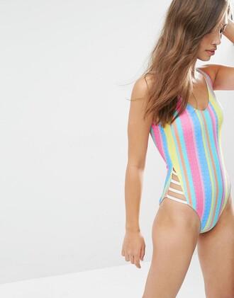 swimwear stripes one piece swimsuit pastel swimwear