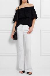 jeans,white denim,white,flare denim